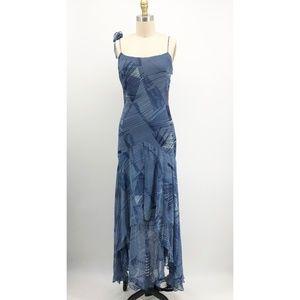 BCBG MaxAzria Blue Floral Silk Maxi Dress 1920s